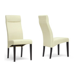 """Wholesale Interiors - Deborah Beige Modern Dining Chairs, Set of 2 - Our Deborah Designer Dining Chair is a new contemporary classic. We designed this modern dining chair with a high, supportive backrest, sturdy rubber wood frame with brown legs, and floor-protecting non-marking feet. This Malaysian-built chair also includes a foam seat with beige linen for your dining comfort. This contemporary chair requires assembly and should be spot cleaned as necessary. A brown fabric version of this chair is also available (sold separately). Dimension: 18""""W x 24.5""""D x 41.75""""H, seat: 18""""W x 17.5""""D x 19""""H."""