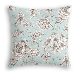 Light Blue Floral Toile Custom Throw Pillow - The every-style accent pillow: this Simple Throw Pillow works in any space.  Perfectly cut to be extra fluffy, you'll not only love admiring it from afar but snuggling up to it too! We love it in this beautiful sky blue and gray toile floral cotton sateen. Modern or traditional? You be the judge.