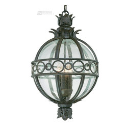 Troy Lighting - Troy Lighting Campanile Traditional Outdoor Hanging Light X-BC8005F - The spherical shape of this Troy Lighting outdoor hanging light is complimented by leafy finials and a border with circular accents. From the Campanile Collection, this hand forged iron frame features candelabra lights paired with a spherical clear seedy diffuser. A unique Campanile Bronze finish compliments the look.