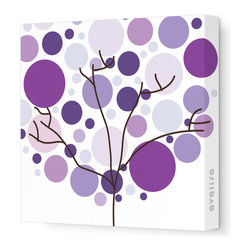 "Avalisa - Imagination - Foliage Stretched Wall Art, 28"" x 28"", Purple -"