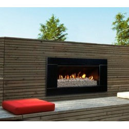 ESCEA - ESCEA Outdoor Gas Satin Black Fireplace - Ferro Front (On Sale), W/ Fuel Bed, W/ - This stunning looking outdoor gas fireplace with a satin black Ferro fascia is constructed for immediate huge heat output at the push of a button. The most modern gas fireplace in North America is made from 100% marine grade stainless steel suitable for all outdoor conditions. Entertaining all night or just relaxing after a day at work, the luxurious EF5000 outdoor gas fireplace is ideal for any occasion.