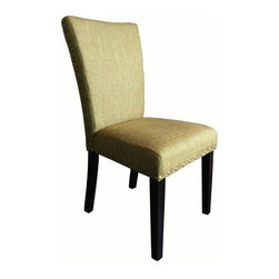 Monsoon Pacific - Adorno Parsons Chairs (Set of 2) - Made with durable linen, a plush seat and back with a transitional feel. These chairs will warm up any dining area and update your decor. Features: -Set includes: Two chairs. -Materials: Linen fabric, poplar wood, bronze nail heads. -Upholstery materials: Linen. -Upholstery fill: California fire retardant foam. -Seat dimensions: 20 inches high.