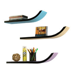 Blancho Bedding - [Cross Stripe] Stylish J Type Leather Bookshelf / Floating Shelf (Set of 3) - These beautifully crafted J Shaped Wall Shelves display the art of woodworking and add a refreshing element to your home. Versatile in design, these leather wall shelves come in various colors and patterns. They spice up your home's decor, and create a multifunctional storage unit for all around your home. These elegant pieces of wall decor can be used for various purposes. It is ideal for displaying keepsakes, books, CDs, photo frames and so much more. Install as shown or you may separate the shelves to create a layout that suits your taste and your style. Each box serves as a practical shelf, as well as a great wall decoration.