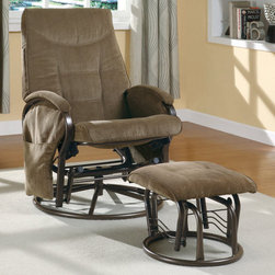 Monarch - Brown Chenille / Metal Swivel Rocker Recliner With Ottoman - Seat yourself in unsurpassed comfort and style with this brown colored recliner chair and matching ottoman. Upholstered in generously padded cushions, padded pillow top armrests, and side pockets useful for magazines, combine for a comfortable and multi-purpose chair. Accent stitching accentuates the buttery chenille fabric for a tailored finish. This piece also features a swivel with an adjustable tension knob, which allows you to control the back pitch for relaxing at just the right angle.