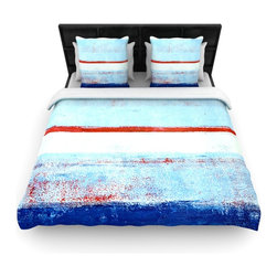 "Kess InHouse - CarolLynn Tice ""Stripes"" Blue White Cotton Duvet Cover (Queen, 88"" x 88"") - Rest in comfort among this artistically inclined cotton blend duvet cover. This duvet cover is as light as a feather! You will be sure to be the envy of all of your guests with this aesthetically pleasing duvet. We highly recommend washing this as many times as you like as this material will not fade or lose comfort. Cotton blended, this duvet cover is not only beautiful and artistic but can be used year round with a duvet insert! Add our cotton shams to make your bed complete and looking stylish and artistic!"