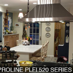 Prohoods Customer Island Range Hood Kitchen Remodels - Picture of finished remodel of customer kitchen after installation of our proline PLFI 520 series hood.
