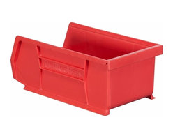 """Akro-Mils - Red Stackable Storage Bins, 7.5""""- Set of 24 - AkroBins optimize your storage space. Control inventories, shorten assembly times and minimize parts handling. Heavy-duty polypropylene bins hang from Akro-Mils racks, panels, rails, and carts; securely stack atop each other and sit on shelving. AkroBins are unaffected by weak acids and alkalis. Sturdy, one-piece construction is water, rust and corrosion proof and guaranteed not to break. Autoclavable up to 250Degrees F."""
