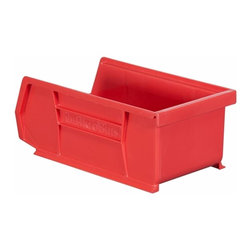 "Akro-Mils - Red Stackable Storage Bins, 7.5""- Set of 24 - AkroBins optimize your storage space. Control inventories, shorten assembly times and minimize parts handling. Heavy-duty polypropylene bins hang from Akro-Mils racks, panels, rails, and carts; securely stack atop each other and sit on shelving. AkroBins are unaffected by weak acids and alkalis. Sturdy, one-piece construction is water, rust and corrosion proof and guaranteed not to break. Autoclavable up to 250Degrees F."