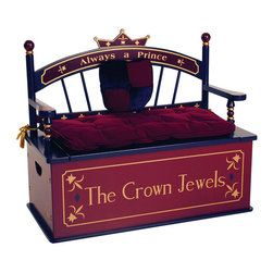 Levels of Discovery - Prince Bench Seat with Storage - A special place awaits his Majesty's treasures Removable padded seat cushion Slow-closing metal safety hingeCrown backrest. Removable Coat of Arms-shaped back cushion. Removable seat cushion with tassels. Slow-closing metal safety hinge. All products have instructions included for assembly