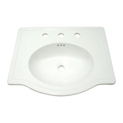 """Kingston Brass - Londonville White China Countertop Bathroom Sink with 8"""" Center LBT23186W38 - The soft curves and boundless deck space are what gives the Londonville sink a look of its own. . Manufacturer: Kingston Brass. Model: LBT23186W38. UPC: 663370125256. Product Name: Kingston Brass White China Countertop Bathroom Sink with 8"""" Center. Collection / Series: Londonville. Finish: White. Theme: Contemporary / Modern. Material: Ceramic. Type: Sink. Features: Fine Vitreous China Material Resistant to Scratches and Chips"""