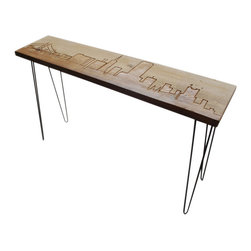 "Urban Wood Goods - Los Angeles Reclaimed Wood Console Table - Standard , 48"" x 11.5"" - Los Angeles reclaimed wood console table features the beautiful LA skyline engraved into the top of the table and accented by sturdy mid-century hairpin legs. Each LA skyline table is made of a single plank of old growth Douglas Fir that has been transformed into a one-of-a- kind table after being salvaged from a deconstructed home, barn or building in the Chicago area and surrounding midwestern states."