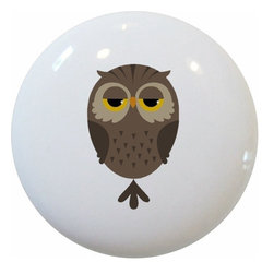 Carolina Hardware and Decor, LLC - Cartoon Owl Ceramic Cabinet Drawer Knob - New 1 1/2 inch ceramic cabinet, drawer, or furniture knob with mounting hardware included. Also works great in a bathroom or on bi-fold closet doors (may require longer screws). Item can be wiped clean with a soft damp cloth. Great addition and nice finishing touch to any room!