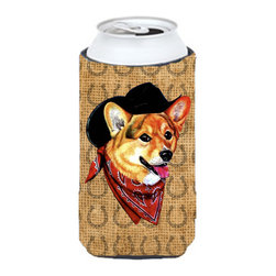 Caroline's Treasures - Corgi Dog Country Lucky Horseshoe Tall Boy Koozie Hugger - Corgi Dog Country Lucky Horseshoe Tall Boy Koozie Hugger Fits 22 oz. to 24 oz. cans or pint bottles. Great collapsible koozie for Energy Drinks or large Iced Tea beverages. Great to keep track of your beverage and add a bit of flair to a gathering. Match with one of the insulated coolers or coasters for a nice gift pack. Wash the hugger in your dishwasher or clothes washer. Design will not come off.
