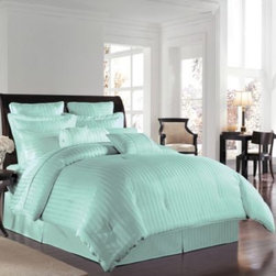 Wamsutta - Wamsutta 500 Damask Comforter Sets in Sky - A lustrous, silk-like feel and a classic damask stripe that reverses to a pinstripe back provides refined detail in these elegant comforter sets. Comforter and sham feature 100% Egyptian cotton construction. 500 thread count.