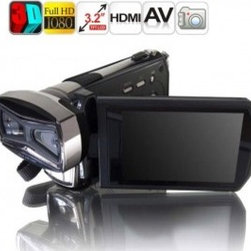 "Full HD DV Digital Video Camcorder with 3.2"" TFT LCD Build-in Dual CMOS Sensor - The most compact 3D HD Camcorder, can capture 3D still image and video easily. This digital video camera is fashionable and capable high-definition. HD digital video camera features portable and small appearance."