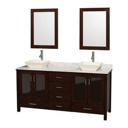 Wyndham Collection - Eco-Friendly Bathroom Vanity in Espresso Finish - Includes natural stone counter, backsplash, two countertop vessel sinks and matching mirrors. Faucets not included. Four doors and six drawers. Engineered to prevent warping and last a lifetime. Highly water-resistant low V.O.C. finish. 12-stage wood preparation, sanding, painting and finishing process. Floor standing vanity. Deep doweled drawers. Fully extending side-mount drawer slides. Soft-close doors. Concealed door hinges. Single hole faucet mount. Plenty of storage space. Metal hardware with brushed chrome finish. White Carrera marble top. Bone porcelain sinks. Made from zero emissions solid oak hardwood. Vanity: 72 in. W x 22.75 in. D x 35 in. H. Mirror: 24 in. L x 33 in. H. Handling Instructions. Assembly Instructions - Countertop. Assembly Instructions - Mirror. Assembly Instructions - SinkContemporary but practical design. The modern design puts a visual emphasis on clean lines, luxurious natural marble, abundant storage for two, and is at home in almost every bathroom decor. Featuring soft-close door hinges, you'll never hear a door slam shut again!.