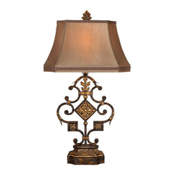 Fine Art Lamps - Castile Table Lamp, 230510ST - With its leaf and flower motif in a warm gold and antiqued iron finish, this table lamp will bring a sense of stately elegance to your home. And it has the perfect topper — a hand-sewn silk shade with braided trim.