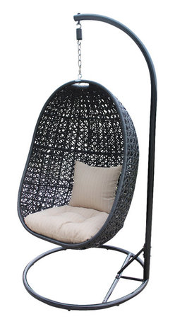 Harmonia Living - Nimbus Modern Patio Swing Chair, Stone Cushion - This amazing suspension chair will have you feeling as if you are floating on cloud nine. Place it on your patio to create your very own oasis for reading, sipping your morning coffee or kicking back with a glass of wine. It's made of high-density polyethylene that weathers the elements beautifully, allowing you to leave it on your patio year-round.