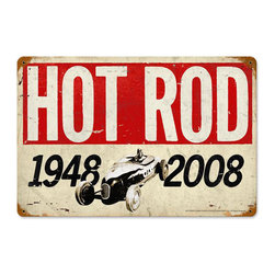 Past Time Signs - Hot Rod Magazine 60th Anniversary Vintage Metal Sign - From the Hot Rod Magazine licensed collection, this vintage metal sign is hand made with pride in the USA using heavy gauge American steel. The high-resolution graphics are sublimated and powdercoated for a long-lasting durable finish. Then, it's worked over by hand to give it that vintage look and feel. It's perfect for your %customfield:genre% Man Cave, Game Room, Office, or anywhere you want to show love for your favorite things.