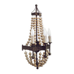 Kathy Kuo Home - Maroma Coastal Beach Scalloped Wood Bead Metal Sconce - A trio of candelabra bulbs flicker from this festively designed, beaded wall sconce. Strings of honey-hued wood beads drape down over rusted metal wall mounts. Add a glimmer of Global Bazaar extravagance to your world.