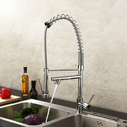 Single Handle Solid Brass Spring Kitchen Faucet with Two Spouts - Chrome Finish -
