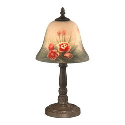 """Dale Tiffany - Dale Tiffany 10056/604 15"""" Rose Bell Hand Painted Accent Table Lamp with Candela - Dale Tiffany 10056/604 15"""" Rose Bell Hand Painted Accent Table Lamp with Candelabra Base and One LightAdd sophistication to your home with this attractive Rose Bell Hand Painted Accent Table Lamp. This Table Lamp is a great way to augment the lighting in your room with style.Dale Tiffany 10056/604 Features:"""