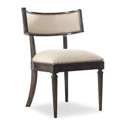 Hooker Furniture - Eglomise Desk Chair - White glove, in-home delivery!  For this item, additional shipping fee will apply.  The elegant Eglomise collection is crafted with poplar and hardwood solids with maple veneers with glass and silver leaf.  Fabric with nailhead trim.