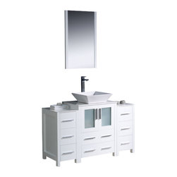 Fresca - Fresca FVN62-122412WH-VSL Torino 48 Inches White Bathroom Vanity With 2 Side Cab - Fresca FVN62-122412WH-VSL Torino 48 Inches White Modern Bathroom Vanity With 2 Side Cabinets & Vessel Sink