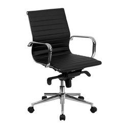 Flash Furniture - Flash Furniture Mid-Back Ribbed Leather Conference Chair in Black - Flash Furniture - Office Chairs - BT9826MBKGG - This elegant office chair will add an upscale appearance to your office. The comfort molded seat has built-in lumbar support and features a locking tilt mechanism for a mid-pivot knee tilt. This chair features dual paddle controls to easily adjust your chair and an integrated bar in the back to keep your jacket within reach. If you're looking for a modern office chair that provides a sleek look then the Ribbed Upholstered Leather Office Chair by Flash Furniture delivers.