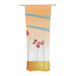 """Kess InHouse - Fotios Pavlopoulos """"Nature Music"""" Orange White Decorative Sheer Curtain - Let the light in with these sheer artistic curtains. Showcase your style with thousands of pieces of art to choose from. Spruce up your living room, bedroom, dining room, or even use as a room divider. These polyester sheer curtains are 30"""" x 84"""" and sold individually for mixing & matching of styles. Brighten your indoor decor with these transparent accent curtains."""