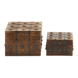 Timelessly Classic Wood Metal Box Set Of 2 - Features: