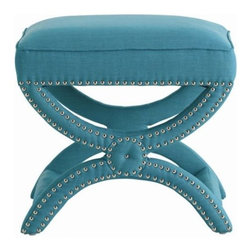 Tennyson Linen Stool, Turquoise - The Tennyson Linen Stool by Arteriors Home comes in four different color fabrics, but my favorite is the turquoise. I tend to like a hit of color when it comes to my upholstery, and vibrant blues are feeling very fresh lately.