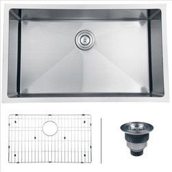 Ruvati - Ruvati RVH7300 Kitchen Sink Single Bowl - Gravena offers a modern, linear style with square / rectangular bowls. The tight radius corners of the bowls make it easy to clean around the linear edges of Gravena sinks. The rear drain placement ensures dishes don't settle on the drain and prevent water flow while the drain grooves in the basin channel water towards the drain, keeping your sink clean and dry.