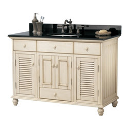 Pegasus - Cottage Bathroom Vanity in Antique White Fini - Manufacturer SKU: CTAA4822D. Faucet and sink not included. Classic cottage design. Louvered door. Three drawers with fully extending drawer glides. Dovetail drawer construction for stronger joints. Matching wood knobs and nickel hinges. Bun feet. ADA compliant. Premium finish. No assembly required. 48 in. W x 21.5 in. D x 34 in. H (170 lbs.)