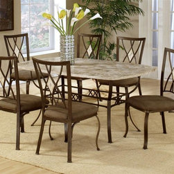 Hillsdale Furniture - Brookside Rectangular Dining Table Set w Foss - For residential use. Includes table and 6 diamond back chairs. Micro suede seat fabric. Thick patterned Ivory colored fossil stone veneer. Sturdy powder coated metal bases. Table top: 66 in. W x 42 in. D. Table base: 52 in. W x 28 in. D x 28.755 in. H. Chairs: 19 in. W x 16 in. D x 39.5 in. HOur Brookside dining collection features the lustrous depth and beauty of fossil stone and the classic effect of transitional designs. A thick patterned Ivory colored fossil stone veneer graces the sturdy powedercoated metal bases on the dining table. The chairs are in more transitional diamond fossil stone motif with a more angular, contemporary design.
