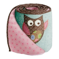 Bananafish Calico Owls Crib Bumper - The Bananafish Calico Owls Crib Bumper is sure to keep your sweet baby girl smiling and entertained throughout her crib stages. Made with soft, cozy cotton, this cushioned bumper set features a double-sided pattern of happy owls and a pink dotted design. It includes two short and two long sides and features an easy tie assembly. Fits most crib rail formats. Machine wash on cold for easy cleaning.Dimensions: Short: 10W x 27.5L in.Long: 10W x 51.5L in.About BananafishBananafish was founded in 1997 and has grown to become a leading manufacturer of infant bedding and nursery décor. In 2007 Bananafish became part of the Betesh Group family. Bananafish has found success tapping into global design resources to bring the latest trends to their product lines. While on-trend, they still manage to balance a look that appeals to classic and contemporary tastes. You'll find Bananafish products featured in all the hot media, such as Pregnancy Magazine, American Baby, HGTV.com, OK Pregnancy and Newborn, and more. Luxurious comfort, superior quality, and style that lasts, Bananafish will help you create a nursery that delights.