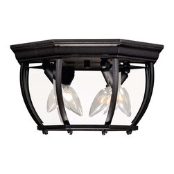 Exterior Collections Flush Mount - Decorate your favorite outdoor spaces to bring a sense of style Al Fresco!Weight: 6. 00 lbsFinish: BlackBulb Wattage: 40Glass: Clear BeveledNumber of Bulbs: 3Type of Bulb: CBulbs Included: NoSafety Rating: UL, CULUL Wet/Damp Location: UL Damp LocationVoltage: 120