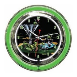 """Michael Godard Fine Art - 19th Hole Clock (18 in.) - Choose Size: 18 in.. Inner neon white to illumiate artwork. Exterior neon colored. Power: Ac adapter plugs into power outlet (120v) requires 1 """"aa"""" battery. Pull chain gives customer choice of blink feature or solid neon. Case in polished chrome finish resin housing. 14 in.: 14 in. Dia. x 3.25 in. D (5 lbs.). 18 in.: 18 in. Dia. x  5 in. D (10 lbs.)"""