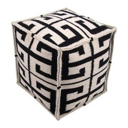 Laguna Greek Key Black Pouf Ottoman - I've been eyeing poufs a lot lately. This one has such a great pattern and would look great in so many different spaces.