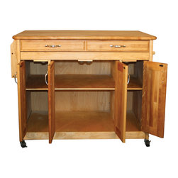 "Catskill Craftsmen - Catskill Work Center PLUS - 42"" x 30"" Butcher Block Top - A large portable island with expansive food prep and storage space. Easy access to drawers and cabinet. Beautiful raised panel door fronts. Model 54230."