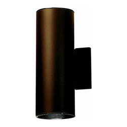 """Kichler - Cans and Bullets Outdoor Wall Lantern - This handsomely modern wall mount is the perfect light for porches, pathways, and steps. While remaining unobtrusive and understated, it adds a beautiful contemporary feel to any outdoor area. Features: -Two light outdoor wall lantern -Cans and Bullets collection -Aluminum body -Maximum wattage: 75W -Voltage: 120V -Medium base to accommodate 2 regular incandescent bulb (not included) -Dimensions: 12"""" H x 4.5"""" W -Suitable for damp locations About Kichler: Kichler Lighting is a four-time winner of the Arts Award as Lighting Manufacturer of the Year. The highest accolade our lighting industry can give. Today they are the leading decorative lighting fixture company in the world. Founded in 1938, Kichler remains a privately held, family owned and run business staffed by people who understand decorative home lighting fixtures and who care about their customers. Kichler has built their reputation on original, design-oriented, high quality lighting products at competitive prices, backed by the finest customer service in the industry. Helping to make your house a home is their job and our number one priority. They do this by providing their customers with the widest assortment of home lighting fixtures and home decor accessories in the industry. The Kichler family of brands offers lighting for every room in your home, designed to fit every pocketbook, offering choices to complement your lifestyle and tastes."""