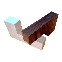 """Milan Heger Design - Coffee Table """"Milan"""" - Unique designer signature coffee table now in stock for immediate shipping. Finished in figured maple and vertical grain walnut, with a glass top. Collector's piece."""