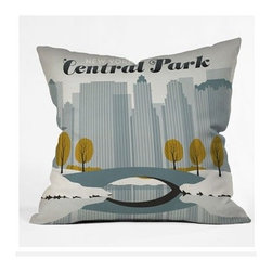 """DENY Designs - Anderson Design Group Central Park Snow Throw Pillow - Wanna transform a serious room into a fun, inviting space? Looking to complete a room full of solids with a unique print? Need to add a pop of color to your dull, lackluster space? Accomplish all of the above with one simple, yet powerful home accessory we like to call the DENY Throw Pillow! Features: -Anderson Design Group collection. -Material: Woven polyester. -Sealed closure. -Top and back color: Print. -Spot treatment with mild detergent. -Made in the USA. -Closure: Concealed zipper with bun insert. -Small dimensions: 16"""" H x 16"""" W x 4"""" D, 3 lbs. -Medium dimensions: 18"""" H x 18"""" W x 5"""" D, 3 lbs. -Large dimensions: 20"""" H x 20"""" W x 6"""" D, 3 lbs."""