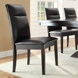 Homelegance - Homelegance Pulse Side Chair w/ Dark Brown Bi-Cast Vinyl Seating - An instant conversation piece, the Pulse Collection will wow your guests while providing a dramatic flair to your dining room. The cool contemporary look of the dining group features clean lines and a rich espresso finish, with an unexpected touch – the crackle glass accent of the table base conceals blue LED lighting. With the flip of a switch, your dining room beckons your guests to sit and enjoy themselves. Flanked by dark brown bi-cast vinyl seating, the Pulse Collection is the perfect addition to your modern home. - 2579S.  Product features: Dark Brown Bi-Cast Vinyl Seating; Rich Espresso finish. Product includes: Side Chair (1). Side Chair w/ Dark Brown Bi-Cast Vinyl Seating belongs to Pulse Collection by Homelegance.