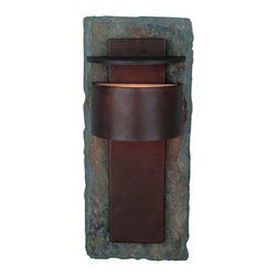 Design Craft - Darius Large Wall Lantern - Perfect for lighting a hallway or an outdoor patio,this modern wall lantern will add beauty and style to your home. The natural slate backing combined with the rustic color and intricate design create a lovely piece that lights your way.