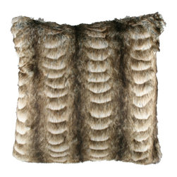 "Brandi Renee Designs - Brown Rippled Faux Fur Pillow 18"" Squared - Our luscious brown fur pillow is uniquely designed with many shades of brown and ripples from top to bottom of the pillow. This elegant design from Brandi Rene can be added to compliment any piece of home decor."