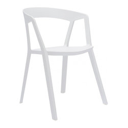 Design Lab MN - Milan Polypropylene White Modern Stackable Arm Chair (Set of 4) - Brand new original design polypropylene modern stackable side chair. Add a touch of unique modern with this sleek side chair. Produced in durable polypropylene, this chair comes in white, platinum or almond colors.