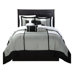 Chic Home - Dorchester Black King 12 Piece Comforter Bed in a Bag Set with Sheet Set - Quilted Patchwork Comforter Set, Solid Color Block Tone on Tone comforter set is so perfectly put together. The solid Black and Grey Tones will give you a perfect Contemporary look with simplicity. This 12-piece lavish comforter set comes with everything you need to do a complete makeover for your master or guest suite.