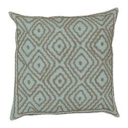 "Surya - Surya 20 x 20 Decorative Pillow, Robin's Egg Blue and Driftwood Brown - Surya LD027-2020P 20"" x 20"" Decorative Pillow, Robin's Egg Blue and Driftwood Brown"