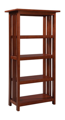 """Alaterre - Alaterre Mission Bookcase in Cherry - 60"""" - Classic Mission Style furniture collection is handsomely crafted and versatile with many decorating styles. Made of select hardwoods this 5 foot tall bookcase offers 4 shelves and provides ample storage for books binders and your favorite home decor. Perfect for living room or office."""